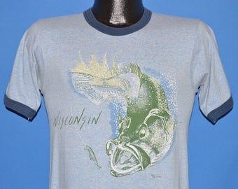 80s Wisconsin Bass Fishing Ringer t-shirt Small