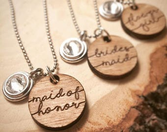Set of 6 Engraved Bridal Party Rustic Wedding Necklace | Will you be my