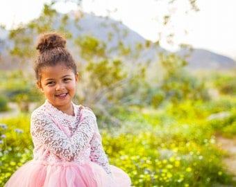 Blush Flower Girl Dress, Peach Pink Wedding, Long Sleeves Girl, Blush Lace Tulle Dress, Blush Tutu GIrl, Winter Dress, Tea Length Girl