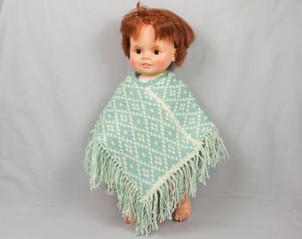 Baby and toddler BoHo poncho Fringed poncho Pale green / off-white crocheted poncho Knitted poncho Fair Isle