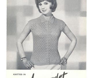 Vintage Knitting Leaflet Pattern Women's Button Up Sleeveless Top Collared 32/34 36/38 Bust Lyscordet 1950 1960