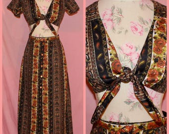 60s psychedelic hippie paisley crop top two piece set