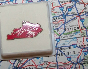 Vintage RED KENTUCKY Sterling  and Enamel State Charm -- Louisville and Frankfort