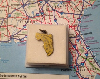 Vintage FLORIDA  Sterling and Enamel State Charm -- Tallahassee, Palm Beach and Miami
