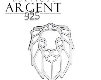 Openwork 925 Silver lion charm - 20.5 X 14.2 mm