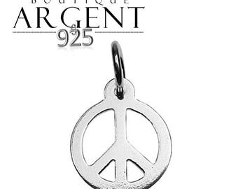 Peace charm 14.9 mm X 9.6 mm Sterling Silver 925 for jewelry making