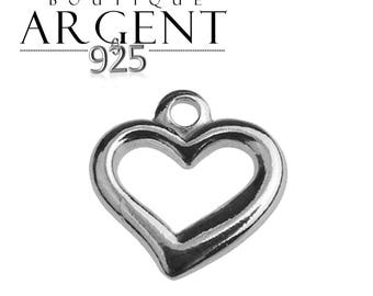 Charm 925 sterling silver heart shaped 10.1 x 9.92 mm