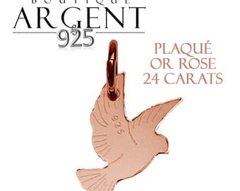 Silver Dove pendant 925 silver plated rose gold with 17.6 X 11.7 mm - silver charm.