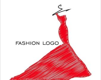 50% SALE Fashion logo, dress logo design, wedding dress, premade logo, apparel logo, custom logo, logo branding, business cards, woman logo,