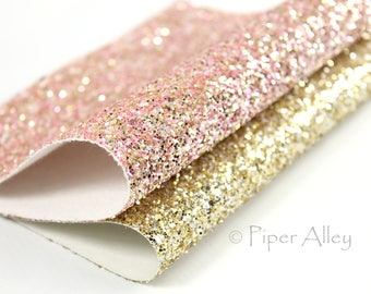 Chunky Glitter Fabric Sheet, Gold & Pink, 8 x 11 inches, DIY Craft Supplies
