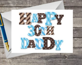 Handmade Daddy Birthday Card, 30th, 40th,  ANY AGE Patchwork Letters Father