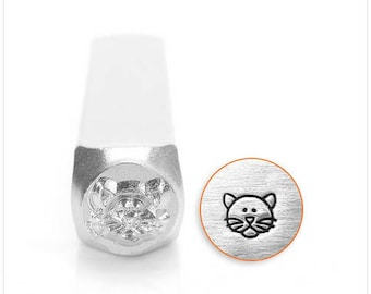 Cat Face design metal stamp - 6mm SC156-B