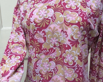 Groovy Psychedelic tunic top with roll neck late 60s mod