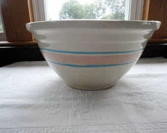 McCoy Large Mixing Bowl USA Pottery Cream Pink Blue Stripe # 14 Ovenproof