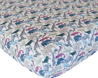 Liberty Print Fitted Sheet | Queue for the Zoo Blue