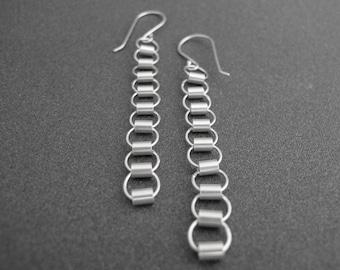 Mitzi Dangle Earrings, Long Chain Earrings, Tube Chain Earrings, Modern Earrings, Modern Jewelry, Sterling Silver, Shiny or Matte Finish
