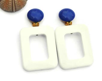 Geometric Statement Earrings, Clip on earrings, White earrings, Large earrings, Modern earrings, Long rectangle earrings, Statement earrings