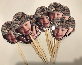 Military themed Photo cupcake toppers or drink stirrers with military helmet. set of 12