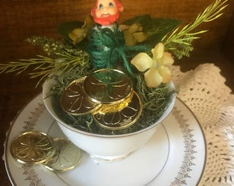 Gotcha!!! Vintage captured leprechaun and his treasure in a tea cup!