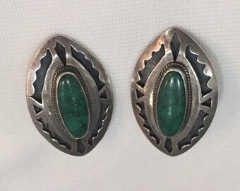 Sterling Silver and Green Stone Earrings