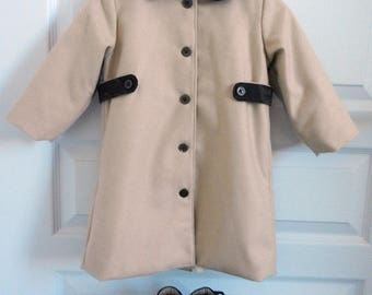 Brown Peter Pan collar - 2 years baby camel wool coat