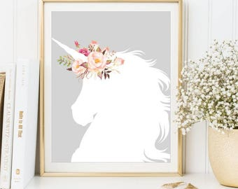 Unicorn Print, Watercolor Flowers Nursery Unicorn Silhouette Printable Art, Children's Decor, Kid's Room Poster Nursery Decor, DIGITAL FILES