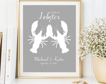 You're my Lobster Anniversary Print, Personalized sign, Custom colors, Printable Wedding Gift, Gift for Parents present, DIGITAL FILES