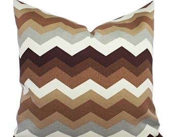 15% OFF SALE Two Brown Outdoor Pillow Covers - 16 x 16 Inch - Brown and Cream Pillow - Chevron Patio Pillow - Couch Pillow - 22 x 22 Inch Pi