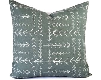 Two Grey Pillow Covers - Grey Throw Pillow - Arrow Pillows - Grey Pillow Sham - Euro Sham - Lumbar Pillow - 18 x 18 Pillow Cover 20 x 20