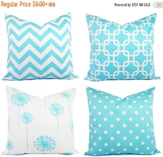 OFF SALE Teal Decorative Throw Pillow Cover Teal and