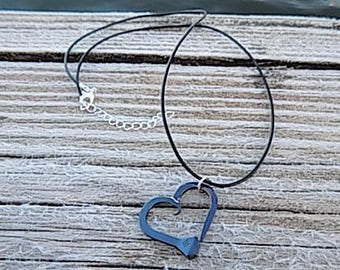 Small Blue Metal Horseshoe Nail Heart Pendant Necklace Western Women's Horse Jewelry