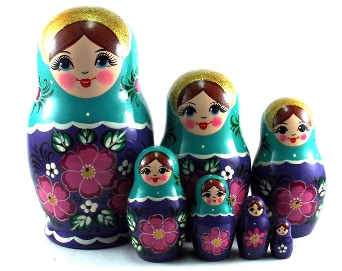 Art Nesting Dolls 7 pcs Russian Matryoshka doll Traditional babushka doll Russian stacking dolls for kids Art Wooden russian doll Flowers