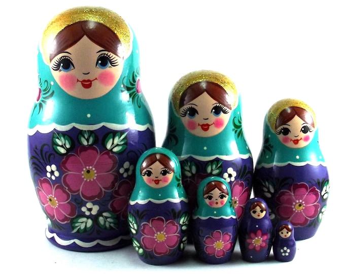 Art Nesting Dolls 7 pcs Russian Matryoshka doll Traditional babushka doll Russian stacking dolls for kids Art Wooden russian doll Flowers