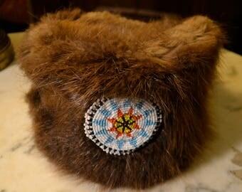 Vintage Chippewa-Ojibwe native american muskrat hat