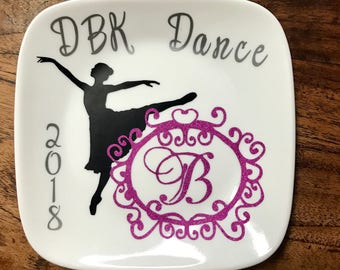 Customized Jewelry Dish, Ring Dish, Monogrammed Ring Dish, Ballet Dancer, Custom Dancer Gift, Jewelry Holder, Personalized Recital gift