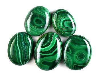 5 Pcs Malachite Rock Cabochon Gemstone,Genuine Green Malachite Gemstone,28x20mm,187Cts Jewelry Making Malachite Gemstone#2772