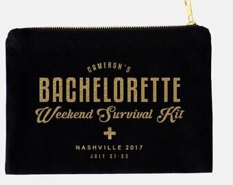 Bachelorette Survival Kit, Custom Bachelorette Bags, Personalized Makeup Bags, Custom Bachelorette Party Cosmetic Bags, Monogrammed Bag
