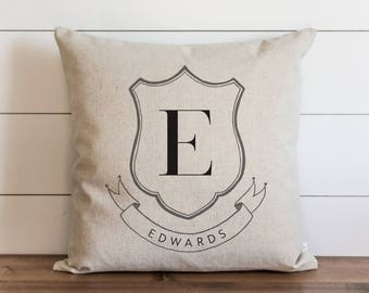 Family Crest_Monogram 20 x 20 Pillow Cover // Everyday // Wedding  // Housewarming // Anniversary // Initial // Gift // Accent Pillow