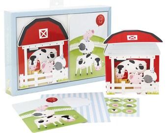Barnyard Farmyard Friends Birthday Invitations with Matching Thankyou cards
