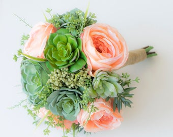 Peach Succulent Bouquet - Perfect Silk Succulent Wedding Bouquet with Peach Peonies and Green Sprays - Bridal Bouquet