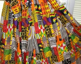 Handmade African patchwork skirt/ One size fits most / Women's African Skirt/ African print Skirt/ African Maxi Skirt