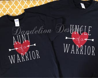 Heart Warrior Aunt of a Warrior Uncle of a Warrior Tee T-Shirt Awareness Gift Survivor