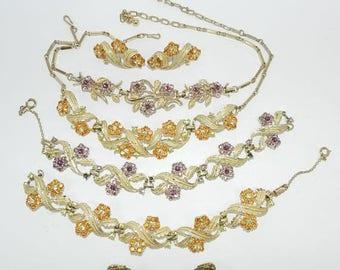 PRIME DEALS Coro Jewelry Sets, Coro Necklace Bracelet Earrings Set, Coro Parure, 2 Coro Sets, Lavender, Tangerine, Vintage Rhinestone Jewelr