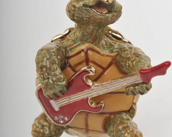 Turtle Playing the Guitar Faberge Styled Trinket Box Handmade by Keren Kopal Enamel Painted Decorated with Swarovski Crystals