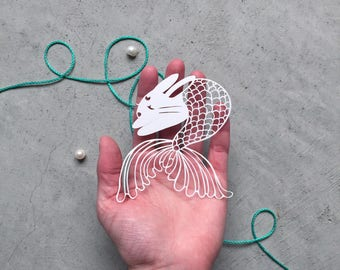 Hand-cut Paper Merbit - Paper-Cutting Bunny - Rabbit Kirigami - Scherenschnitte Rabbit - Mermaid Bunny