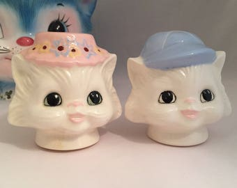 Miss Priss style Anthropomorphic Salt and Pepper Shakers Cat Kitten Kitty Pussycat Ceramics Class Hand Painted