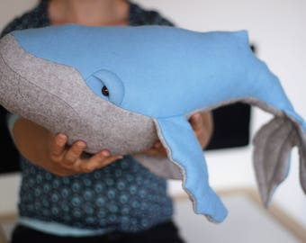 Humpback Whale Soft Toy ,Whale Plushie, Cuddly Whale, Blue and grey whale, Big Whale stuffed toy, Ocean Life Soft Toy