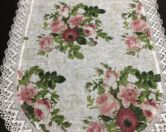 Linen Table Runner Linen Lace Oval Roses Print Fabric White 62 inches