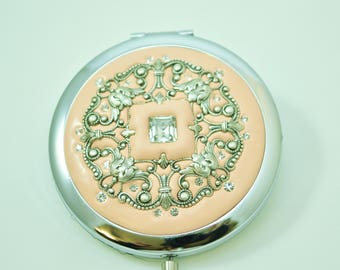 Lacy Jeweled Compact Mirror
