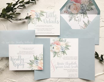 Dusty Blue and Peach Floral Wedding Invitations